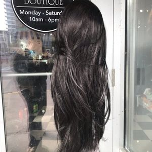 Accessories - Long brown highlights 360 wig human hair Blende